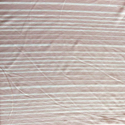 Rose Beige and Cream Thick and Thin Stripe Bamboo Lycra Knit Fabric