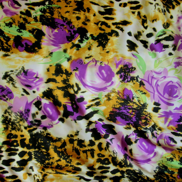 Rose Leopard ITY Knit Fabric, Purple Colorway - 15 Yard Bolt