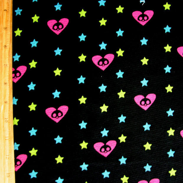 Roxy Hearts and Stars on Black Cotton Thermal Knit Fabric