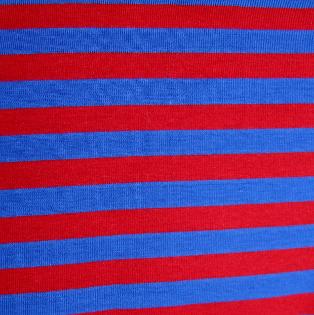 "Royal Blue and Red 3/8"" wide Stripe Cotton Lycra Knit Fabric"