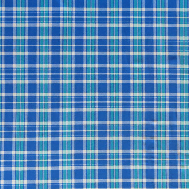 Royal Blue and Green Plaid Nylon Spandex Swimsuit Fabric