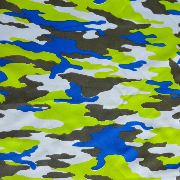 Royal, Lime, Charcoal, and Light Blue Camo Microfiber Boardshort Fabric
