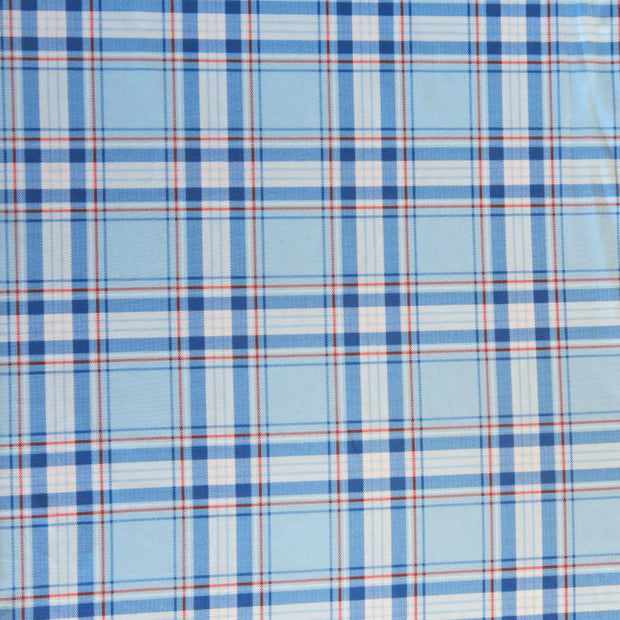 Royal and Red Plaid on Light Blue Nylon Spandex Swimsuit Fabric