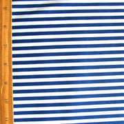 Royal 1/4 Inch Stripes on White Nylon Lycra Swimsuit Fabric