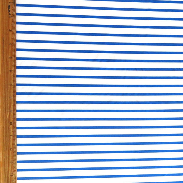 Narrow Royal Stripes on White Nylon Spandex Swimsuit Fabric