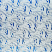 Royal Swirls on Silver Metallic Nylon Spandex Swimsuit Fabric