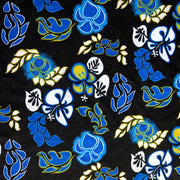 Royal, Turquoise, and Yellow Hibiscus on Black Microfiber Boardshort Fabric