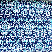 Royal, White, and Teal Damask Nylon Lycra Swimsuit Fabric