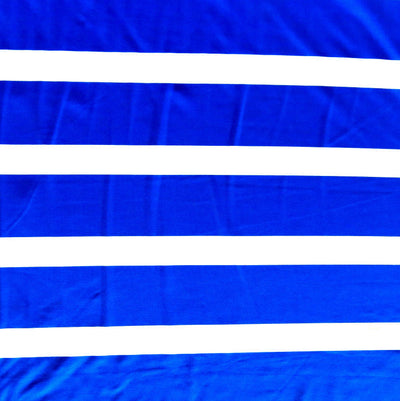 Royal Wide Stripes on White Nylon Spandex Swimsuit Fabric