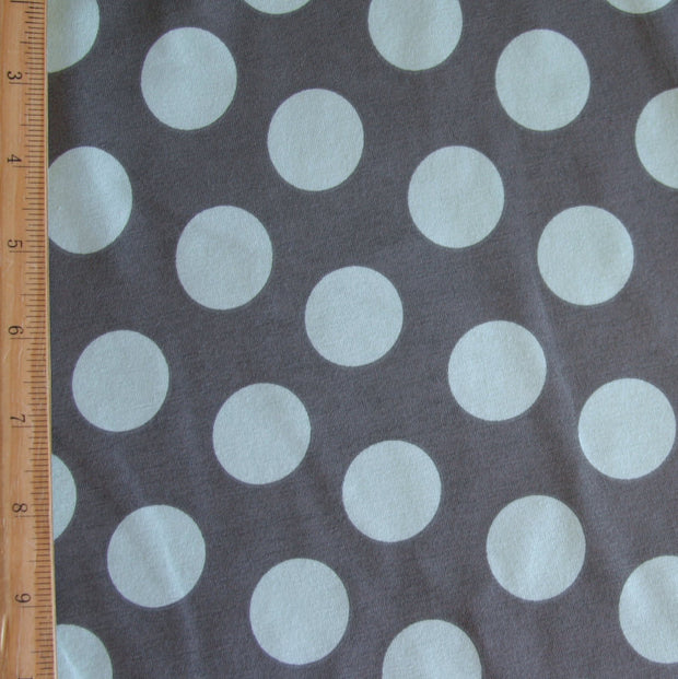 Sage Polka Dots on Grey Cotton Lycra Knit Fabric