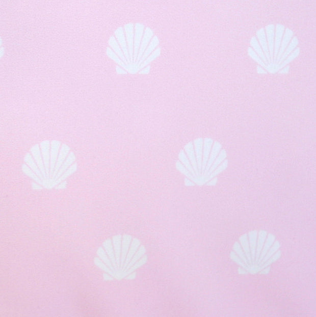 Scallop Seashells on Light Pink Nylon Lycra Swimsuit Fabric