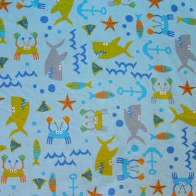 Sealife Ahoy Cotton Knit Fabric, Blue Background
