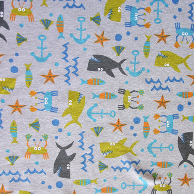 Sealife Ahoy Cotton Knit Fabric, Heathered Grey Background