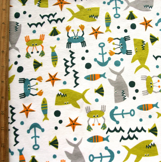 Sealife Ahoy Cotton Knit Fabric