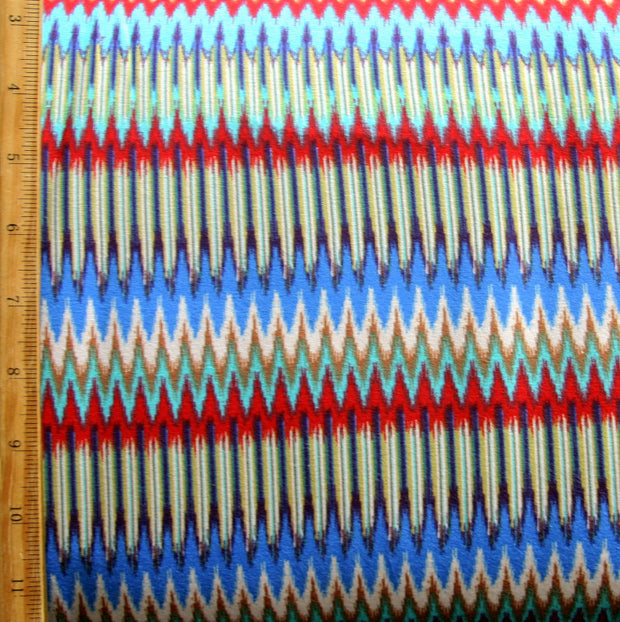 Seismic Rainbow Waves Cotton Lycra Knit Fabric