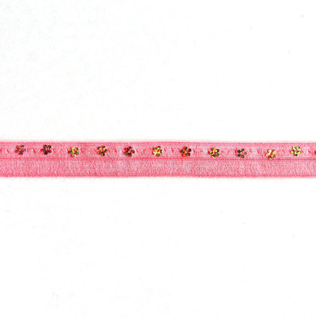 Flower Sequins on Bubblegum Pink Fold Over Elastic Trim
