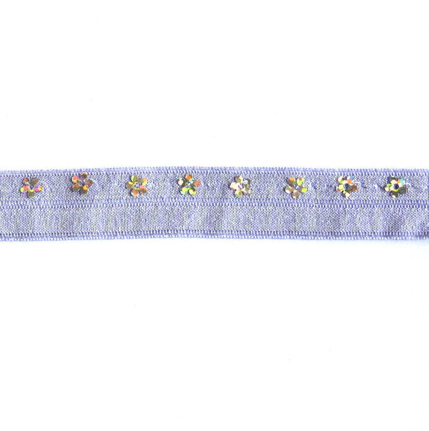 Flower Sequins on Lavender Fold Over Elastic Trim