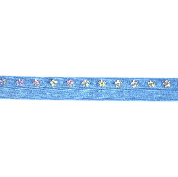 Flower Sequins on Medium Blue Fold Over Elastic Trim