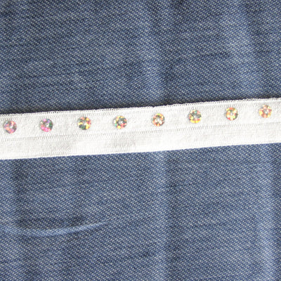 Round Sequins on White Fold Over Elastic Trim