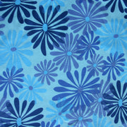 Shades of Blue Floral Cotton Lycra Knit Fabric