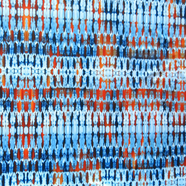 Shades of Blue and Orange Abstract Lines Nylon Spandex Swimsuit Fabric