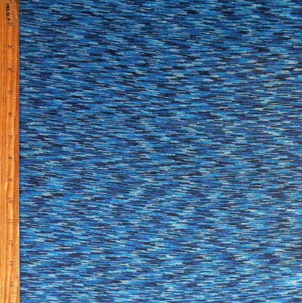 Shades of Blue Space Dye Poly Knit Fabric