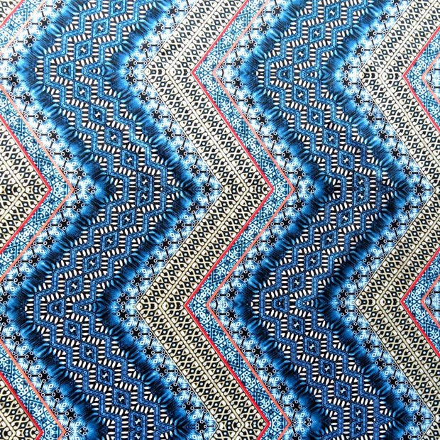 Shades of Blue Vertical Zig Zag Nylon Spandex Swimsuit Fabric