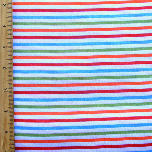 Silly Rainbow Stripe Cotton Knit Fabric