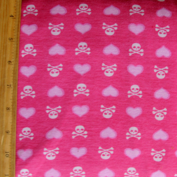 White Skulls and Pink Hearts on Bright Pink Cotton Knit Fabric - Seconds - Not Quite Perfect