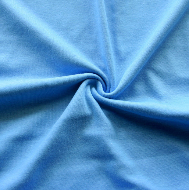 Sky Blue Cotton Rib Knit Fabric