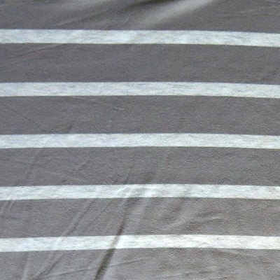 Slate Grey and Heathered Grey Stripe Bamboo Lycra Knit Fabric
