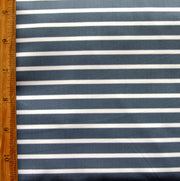 "Slate Grey and White Stripe Nylon Lycra Swimsuit Fabric - 32"" Remnant Piece"