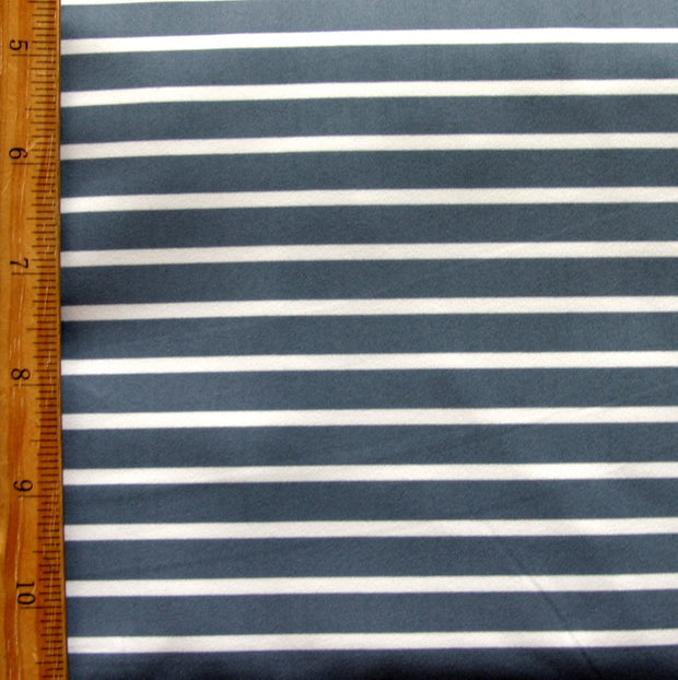 Slate Grey and White Stripe Nylon Lycra Swimsuit Fabric