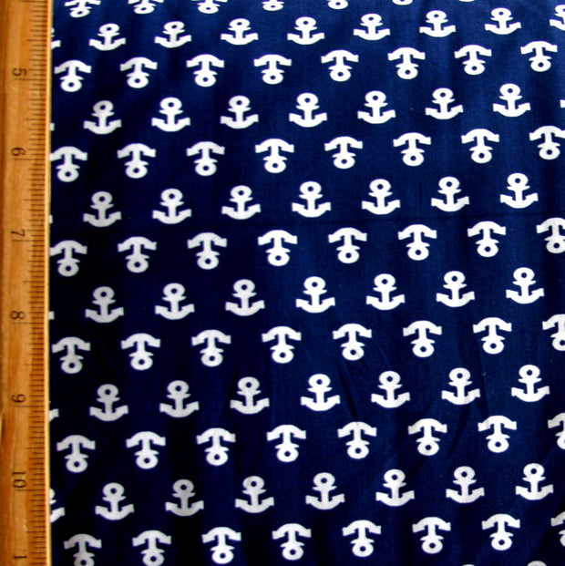 Small Anchors on Navy Nylon Lycra Swimsuit Fabric