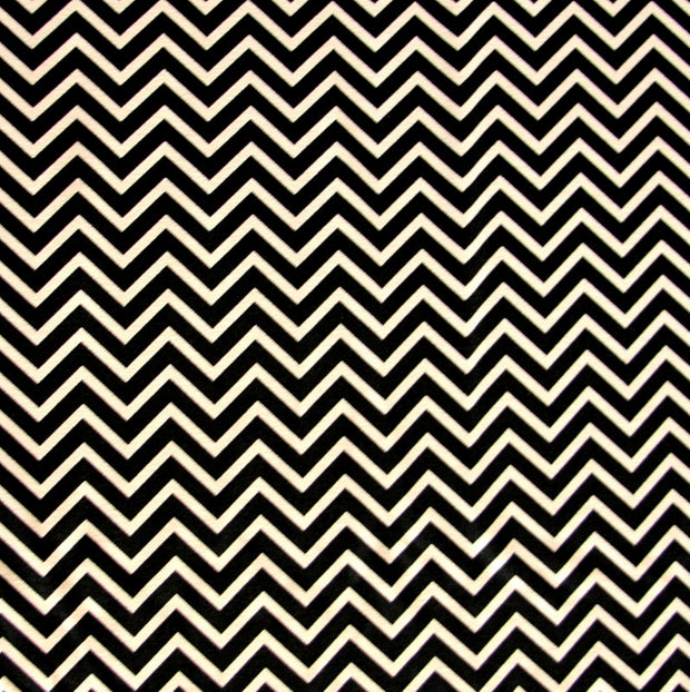 Mini Black Zig Zags on Taupe Nylon Lycra Swimsuit Fabric