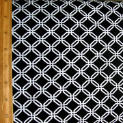 Small White Chainlink on Black Nylon Lycra Swimsuit Fabric