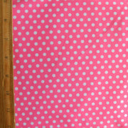 Small White Polka Dots on Pink Nylon Lycra Swimsuit Fabric