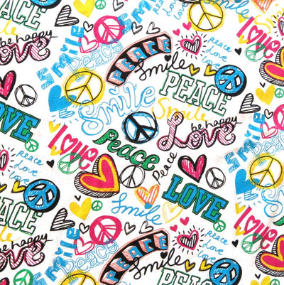Smile, Peace, Love Cotton Knit Fabric