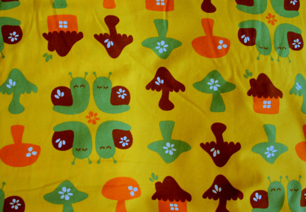 Snail Forest Organic Cotton Lycra Knit Fabric by Mussukat