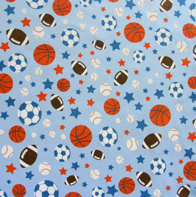 Sports and Stars on Blue Cotton Knit Fabric