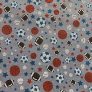 Sports and Stars on Heathered Grey Cotton Knit Fabric