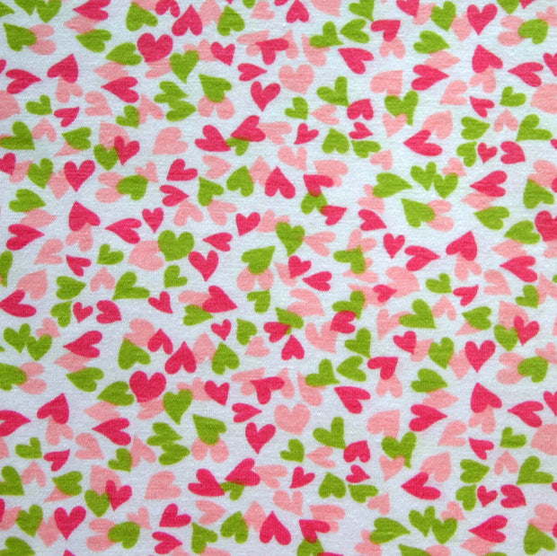 Spring has Sprung Hearts Cotton Jersey Knit Fabric
