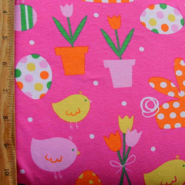 Spring Pink Cotton Lycra Knit Fabric