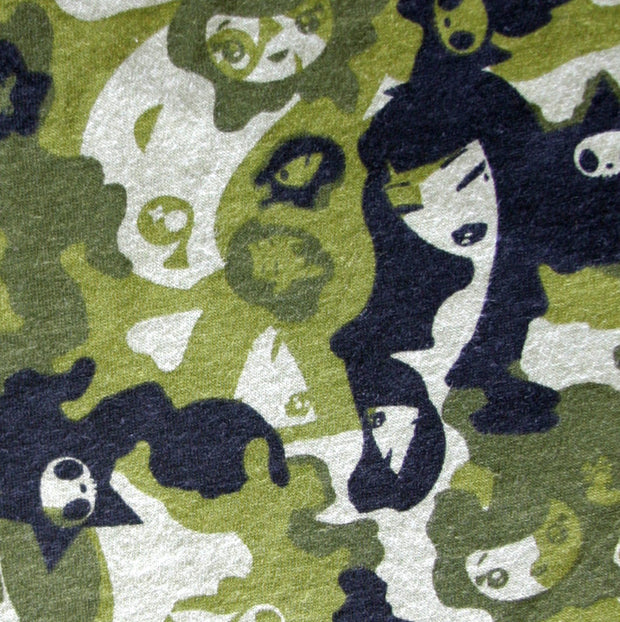 "Tokidoki Stylish Girls Camo Cotton Knit Fabric, Green Colorway - 33"" Remnant Piece"