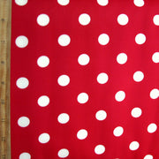 Tan Polka Dots on Red Nylon Lycra Swimsuit Fabric