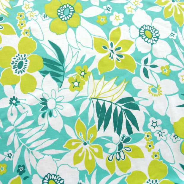 Teal, Mint, and Chartreuse Floral Nylon Lycra Swimsuit Fabric