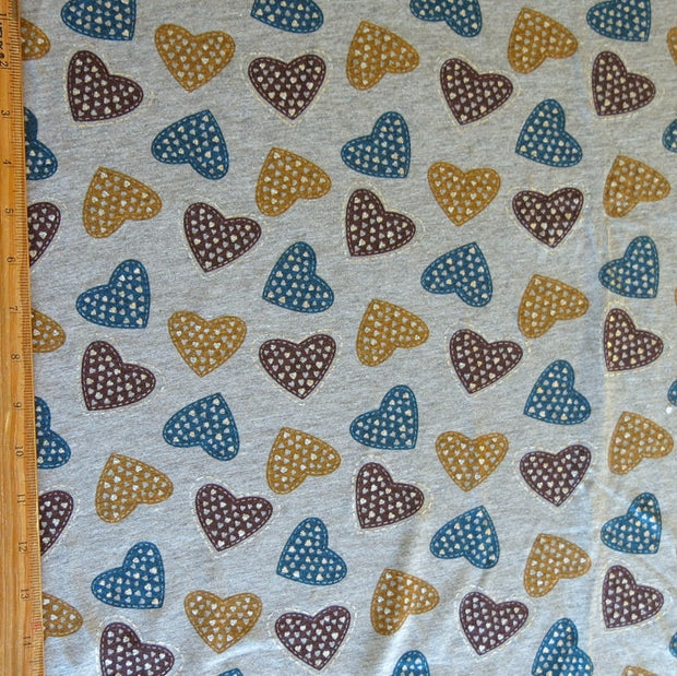 Teal, Plum, Mustard Hearts with Silver Jersey Knit Fabric