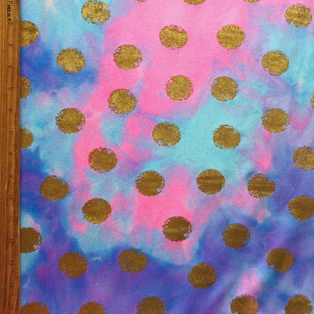 Tie Dye with Gold Foil Dots Nylon Spandex Swimsuit Fabric