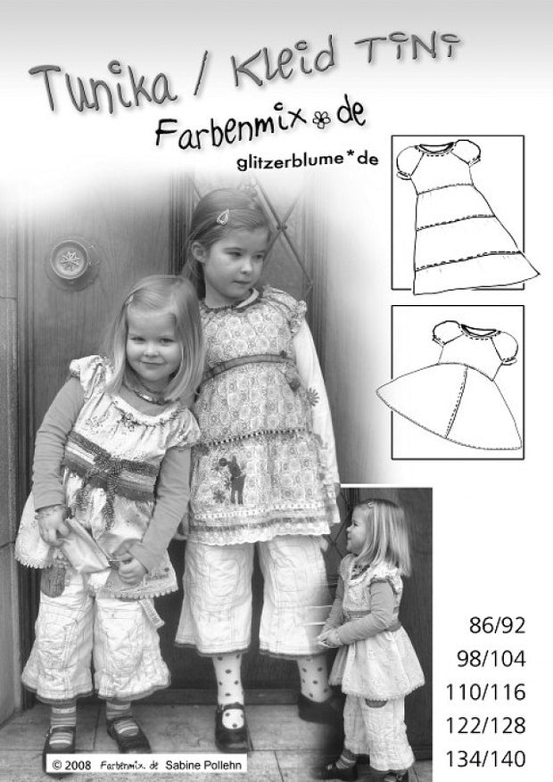 Tini Peasant Blouse and Dress Sewing Pattern by Farbenmix