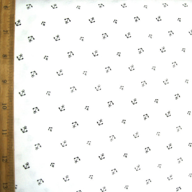 Tiny Anchors on White Cotton Knit Fabric